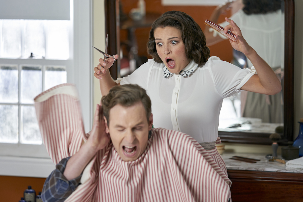 Fiona cutting hair in an episode of When Calls the Heart