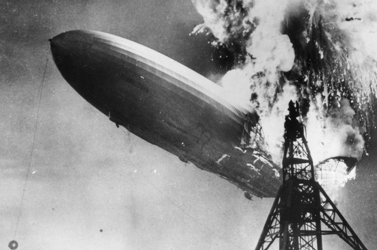 Photo of zeppelin airship The Hindenburg on fire and crashing in 1937