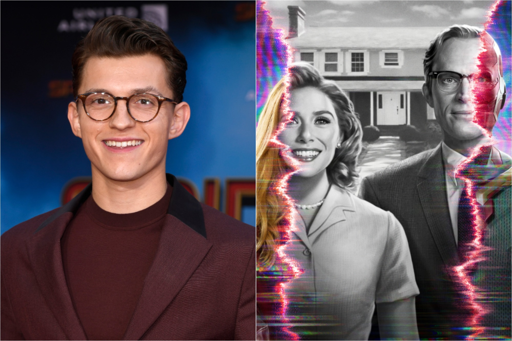 (L) Tom Holland at the premiere of 'Spider-Man Far From Home' on June 26, 2019 / (R) Promotional poster for 'WandaVision' starring Elizabeth Olsen and Paul Bettany