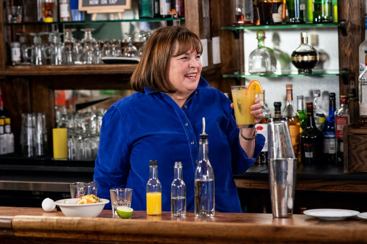Ina Garten holds a cocktail during 'Seth Goes Day Drinking with Ina Garten' on Late Night With Seth Meyers