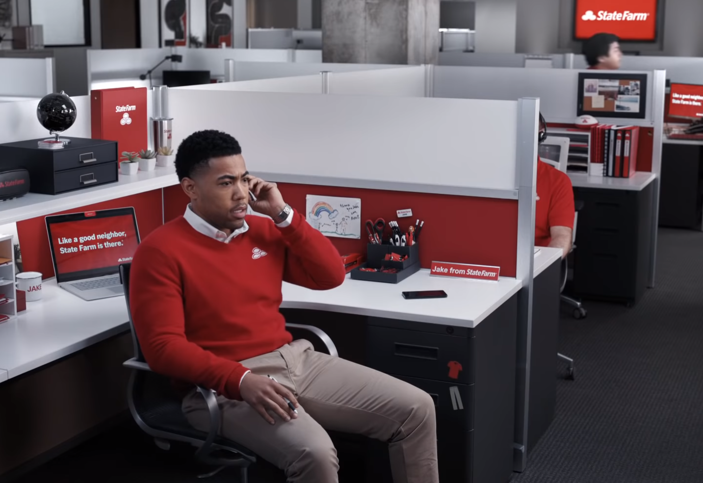 """Jake From State Farm actor Kevin Miles delivers the famous """"Uh, khakis?"""" line."""