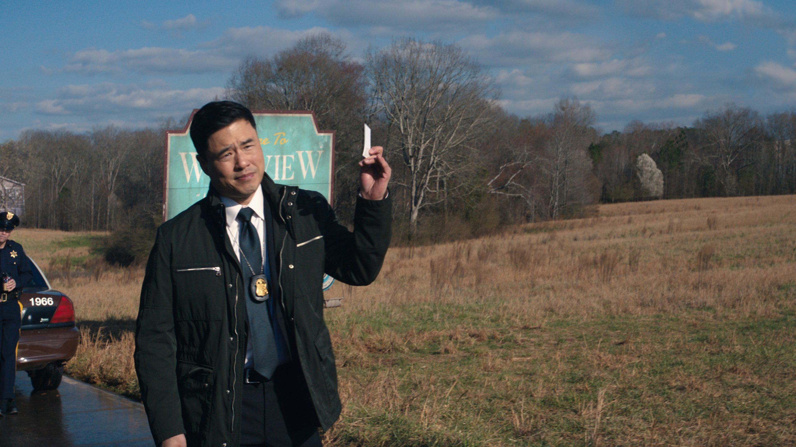 Randall Park as Jimmy Woo outside of Westview, 'WandaVision'