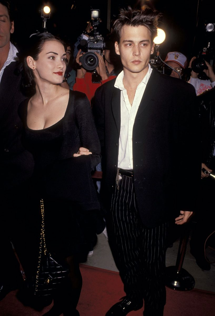 Actress Winona Ryder and actor Johnny Depp attend the 'Mermaids' Beverly Hills Premiere in 1990