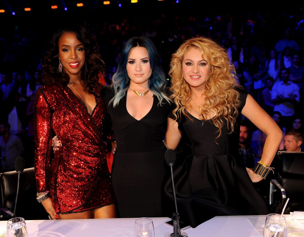 Kelly Rowland, Demi Lovato, and Paulina Rubio as judges of 'The X-Factor'