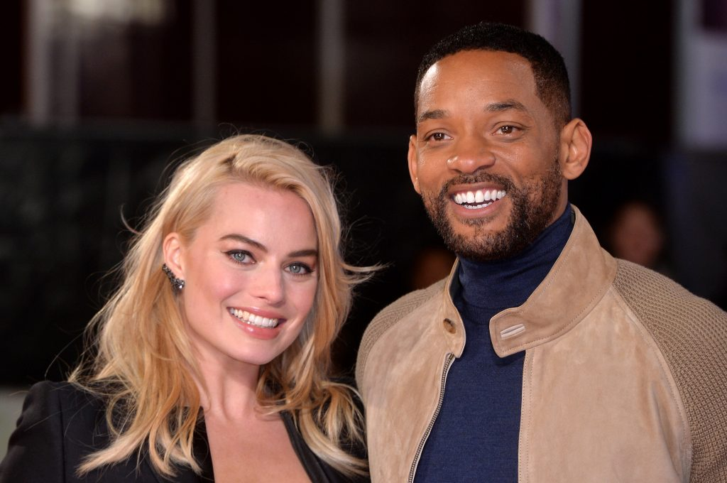 Margot Robbie and Will Smith smiling