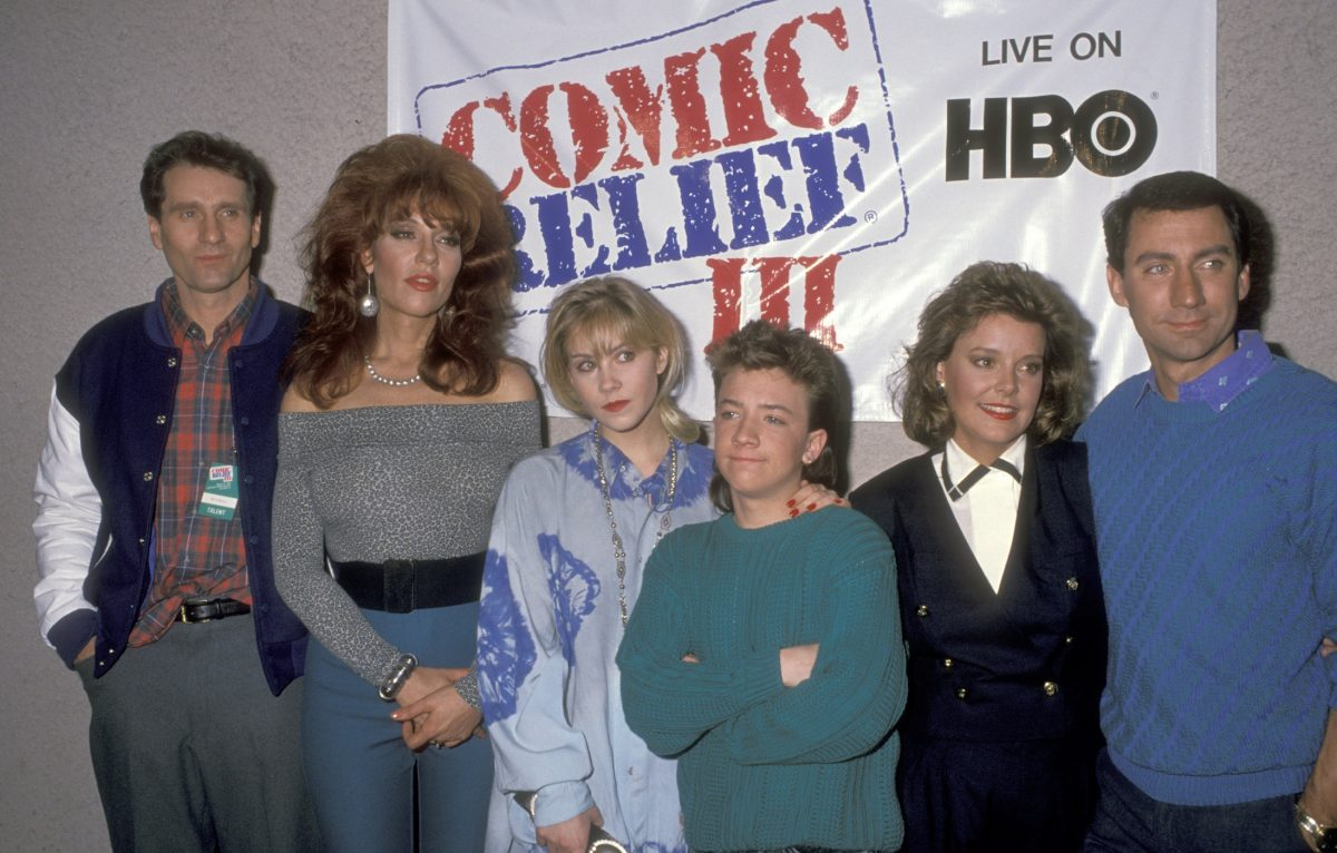 Ed O'Neill, Katey Sagal, Christina Applegate, David Faustino, Amanda Bearse, and David Garrison attend the Comic Relief III Benefit on March 18, 1989