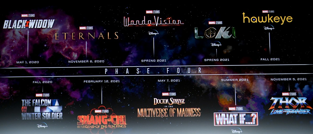 A black wall with titles of upcoming Marvel movies and TV shows