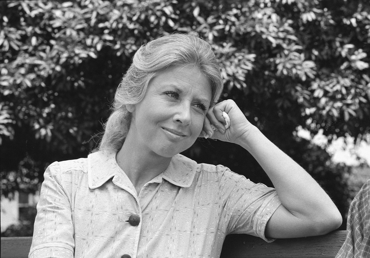 Black and white photo of Michael Learned as Olivia Walton on The Waltons
