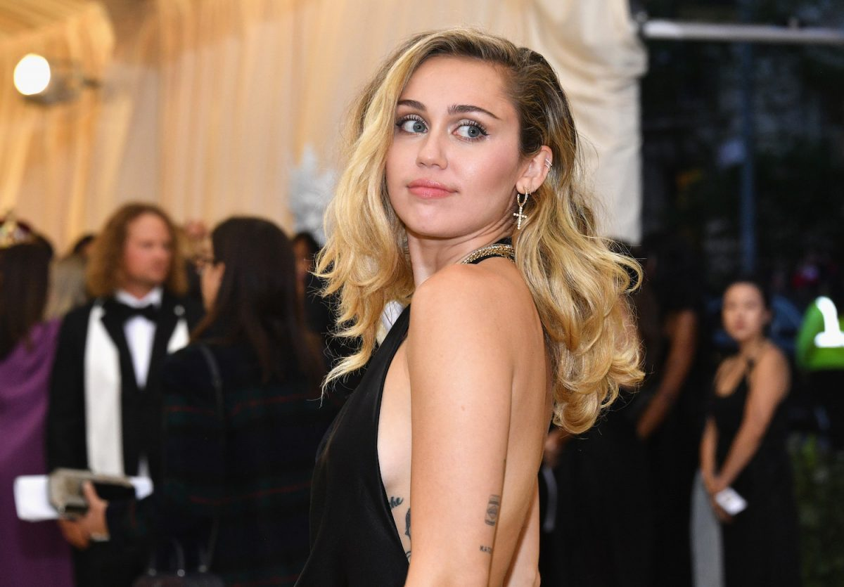 Miley Cyrus attends the Heavenly Bodies: Fashion & The Catholic Imagination Costume Institute Gala at The Metropolitan Museum of Art on May 7, 2018
