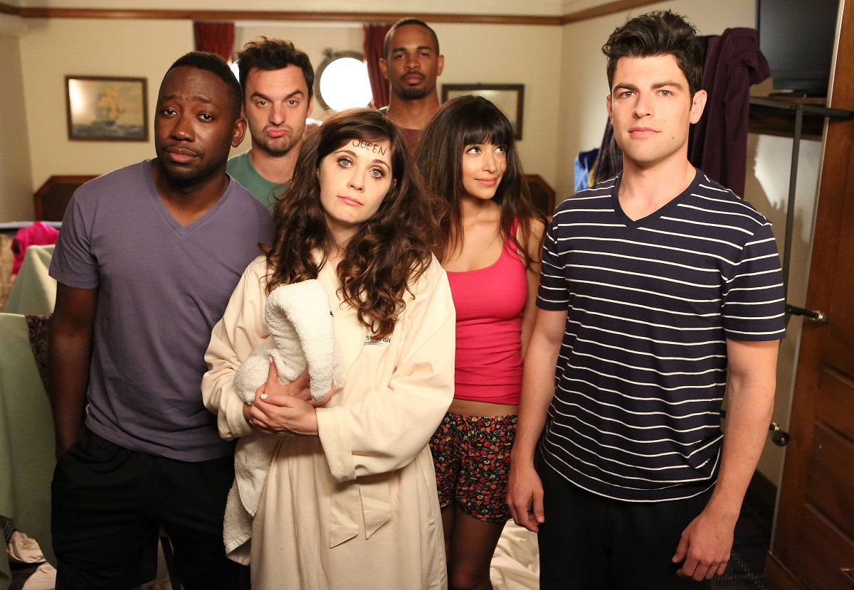 The 'New Girl' cast in pajamas looking disheveled