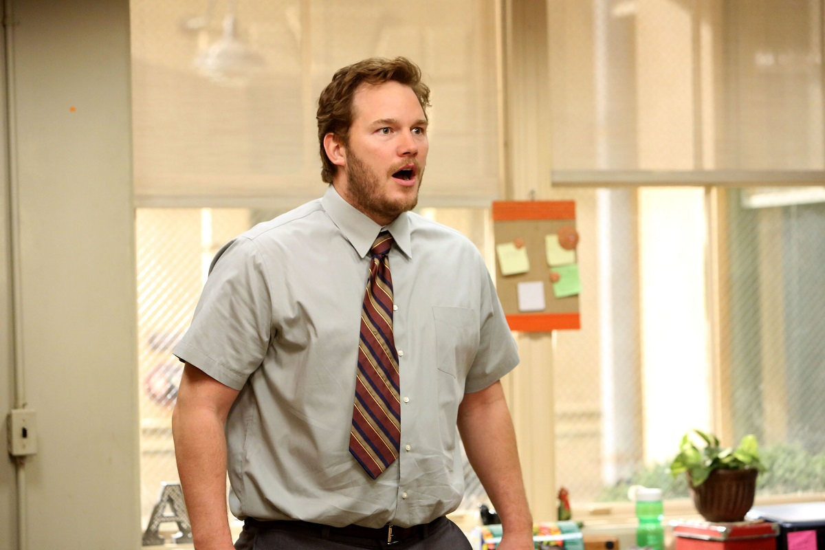 Chris Pratt in a shirt and tie with his mouth open
