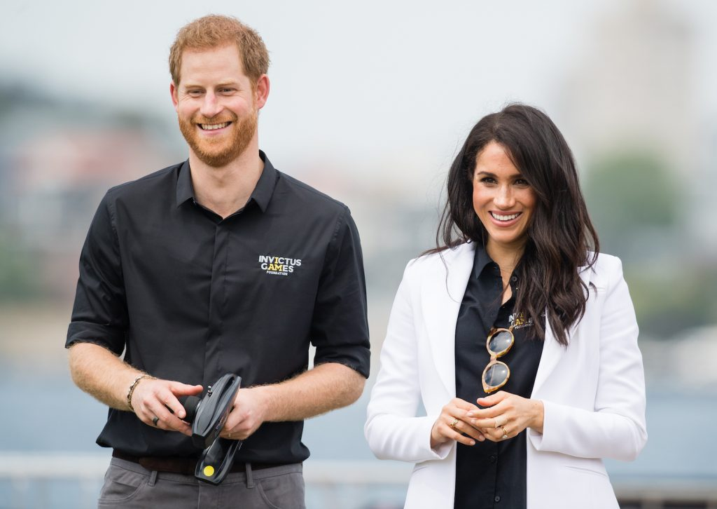 Prince Harry and Meghan Markle attend the Jaguar Land Rover Driving Challenge at the Invictus Games on October 20, 2018 in Sydney, Australia