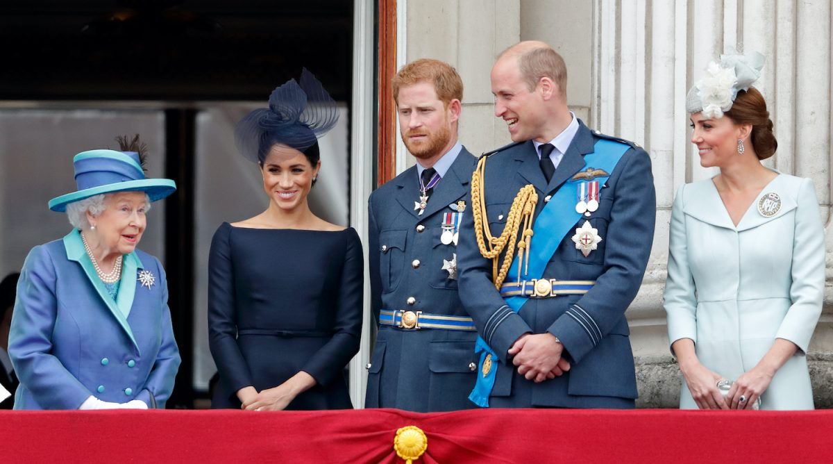 Queen Elizabeth II, Meghan Markle, Prince Harry, Prince William, and Kate Middleton on the Balcony of Buckingham Palace