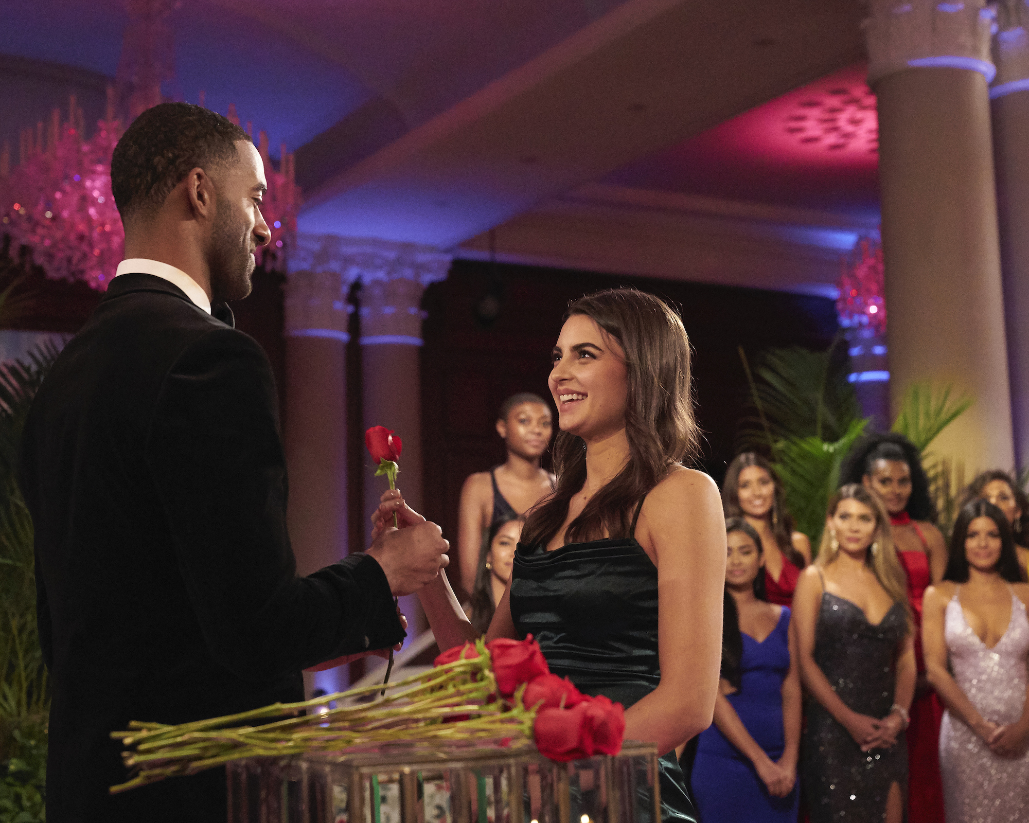 Matt James and Rachael Kirkconnell on 'THE BACHELOR' during a rose ceremony