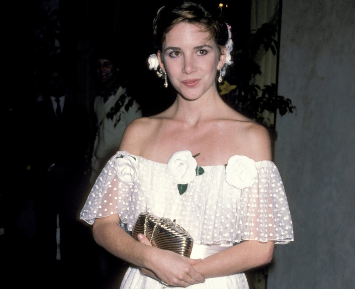 Melissa Gilbert in a white dress at the British Olympic Association Hosts Gala Dinner in 1984.