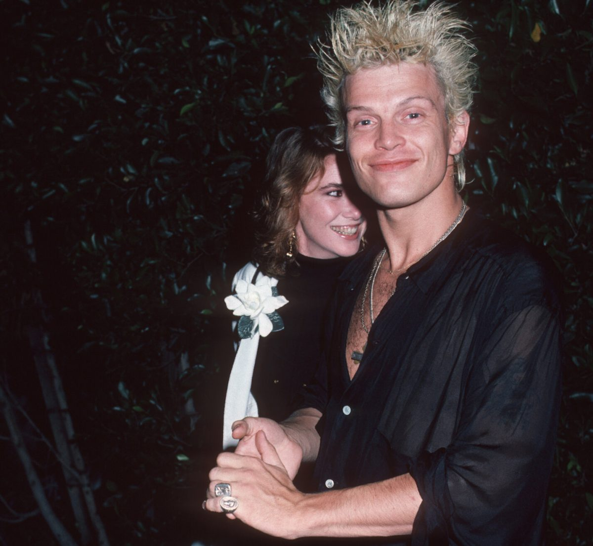Melissa Gilbert and Billy Idol after a date at Le Dome Restaurant in West Hollywood, 1986