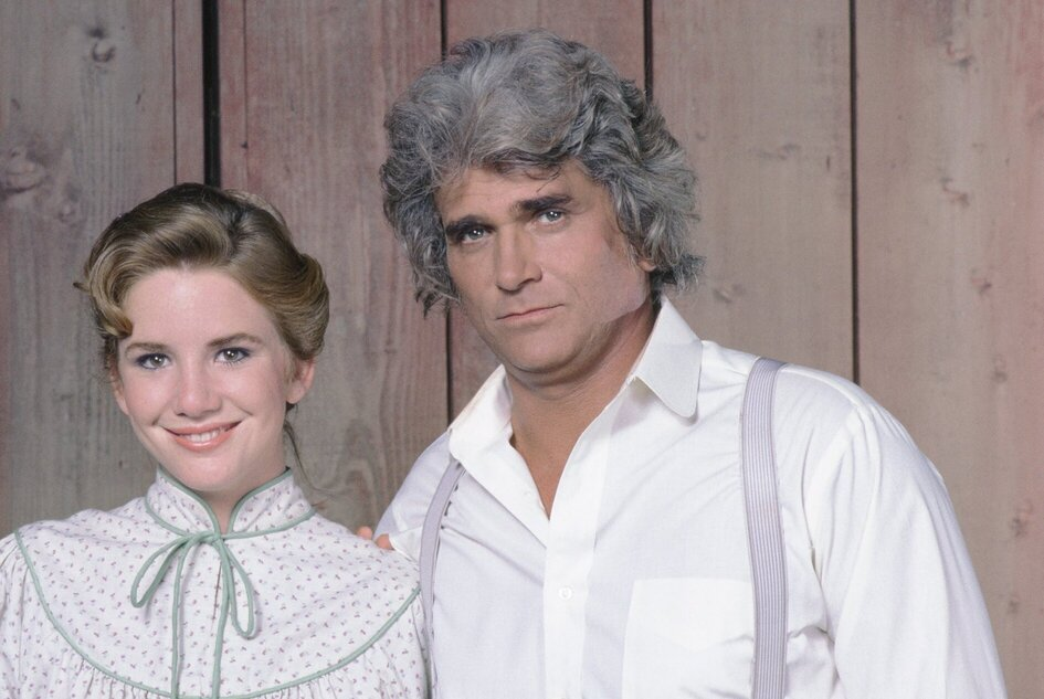 Melissa Gilbert and Michael Landon in Little House: A New Beginning as Laura Ingalls Wilder and Charles Ingalls.