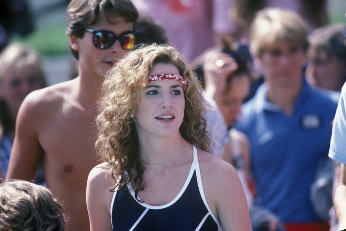 """Rob Lowe and Melissa Gilbert at """"Battle of the Network Stars"""" in 1982"""