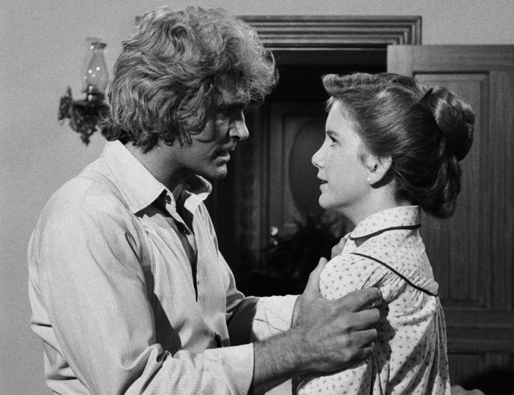 Michael Landon grabbing Melissa Gilbert by the shoulders in a still from 'Little House: A New Beginning'