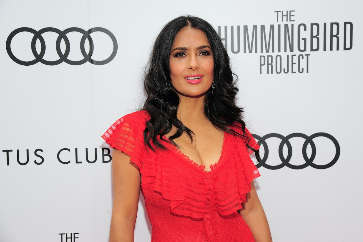 Salma Hayek attends Post-Screening Event For 'The Hummingbird Project' during the Toronto International Film Festival wearing a red dress