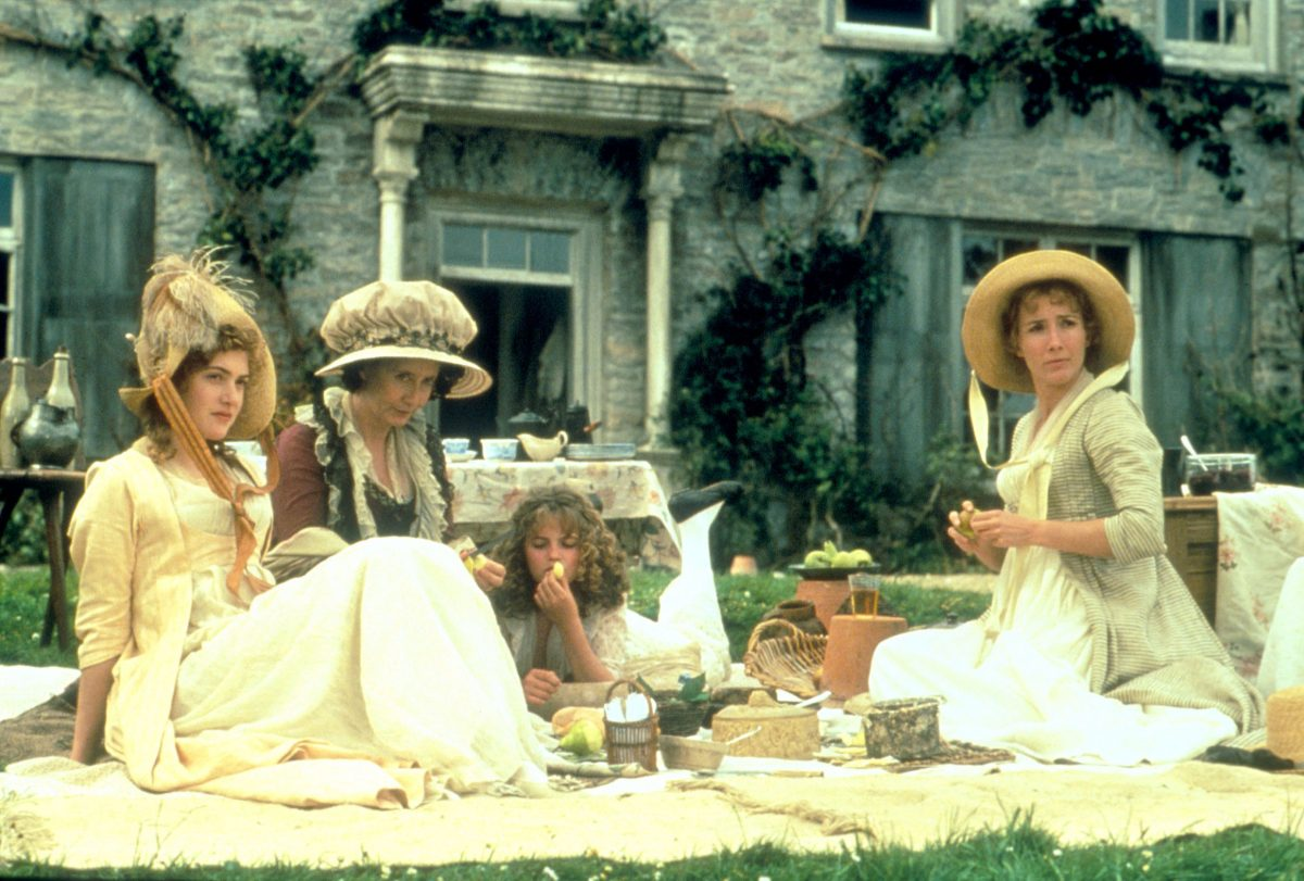 Members of the Dashwood family having a picnic in the 1995 movie adaptation of Jane Austen's Sense and Sensibility