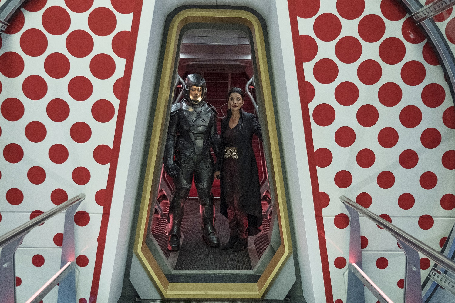 Frankie Adams as Bobbie Draper, Shohreh Aghdashloo as Chrisjen Avasarala on The Expanse
