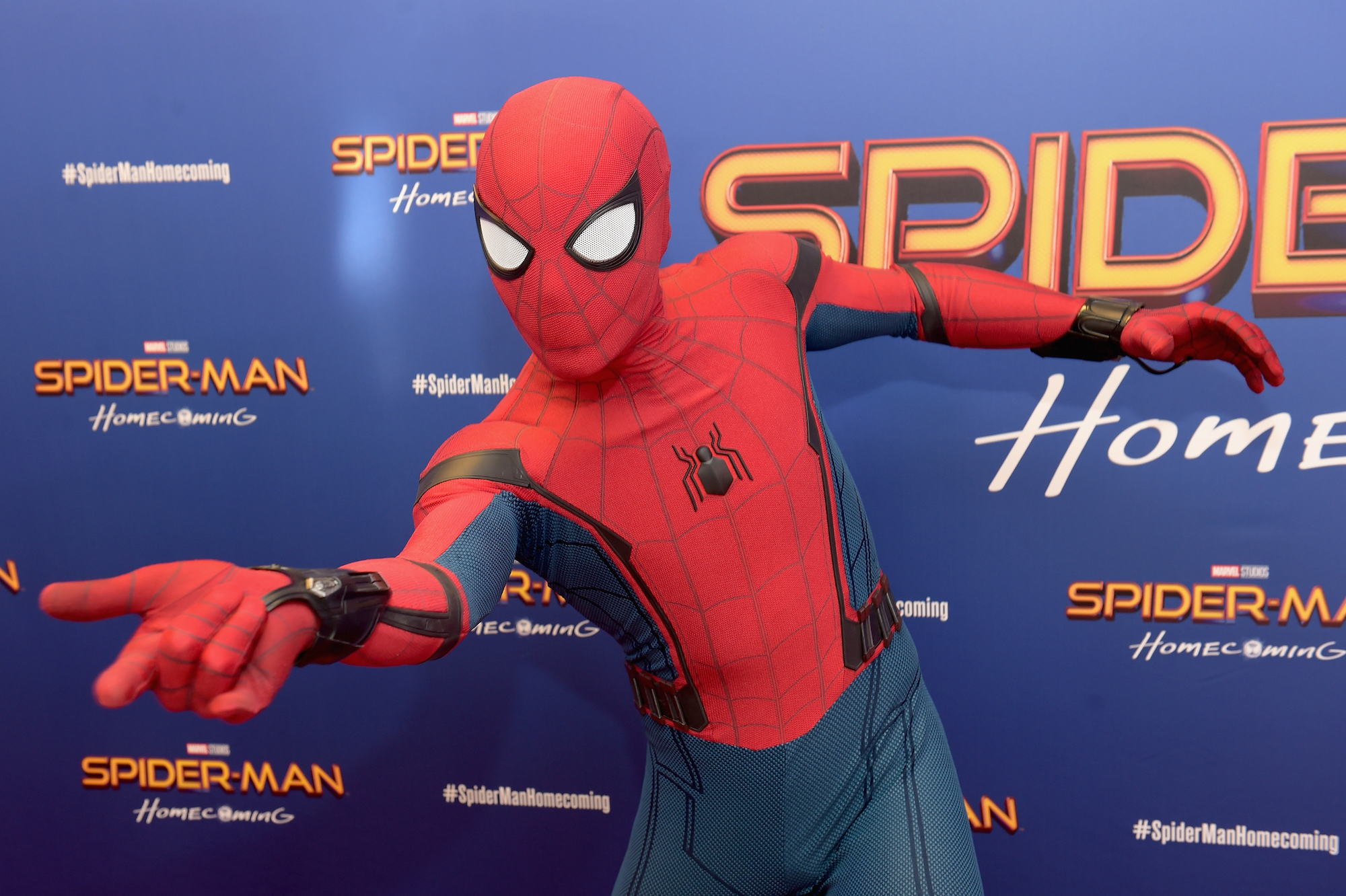 Spiderman at the 'Spiderman: Homecoming' New York First Responders' Screening on June 26, 2017