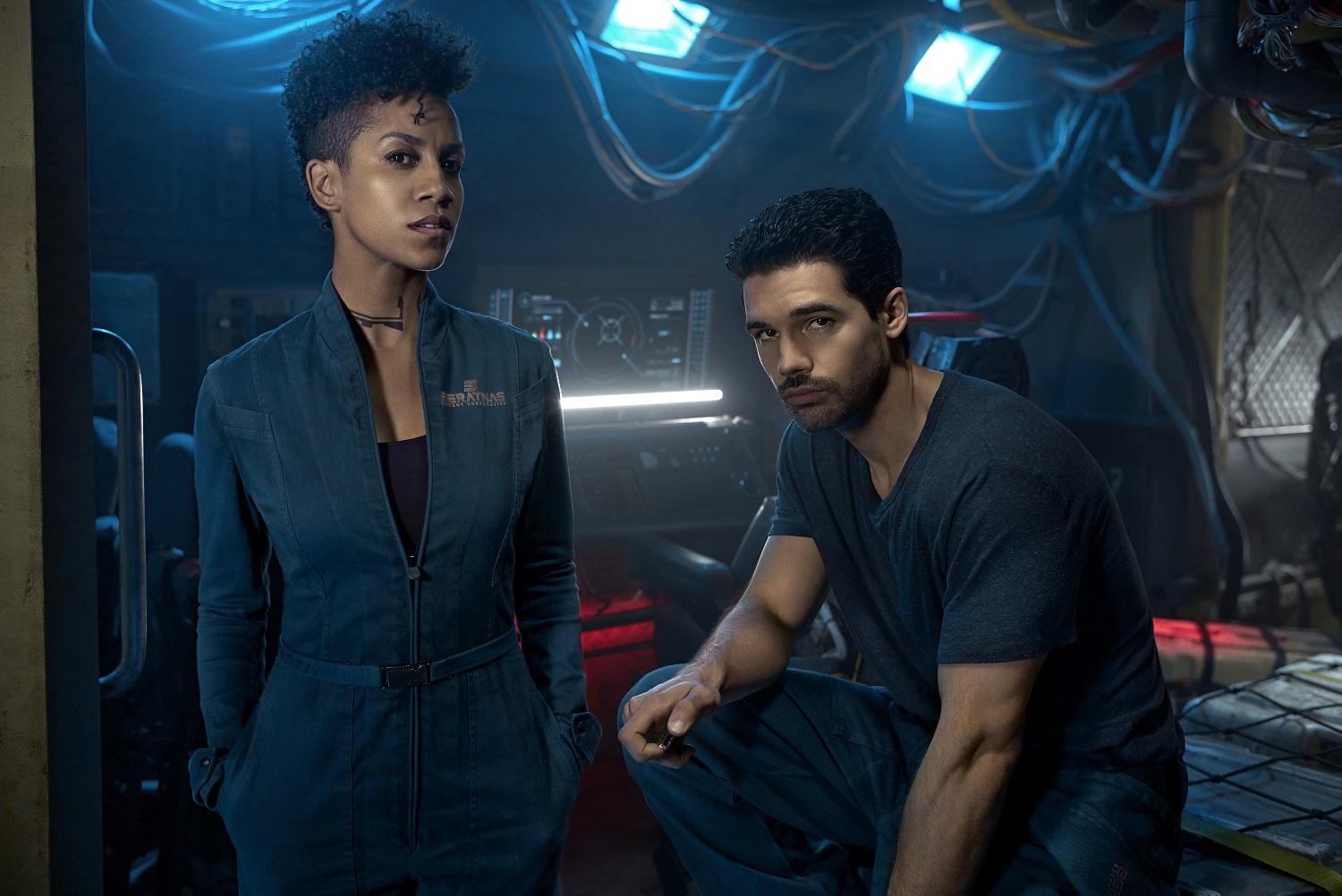 Dominique Tipper as Naomi Nagata, Steven Strait as James Holden of The Expanse