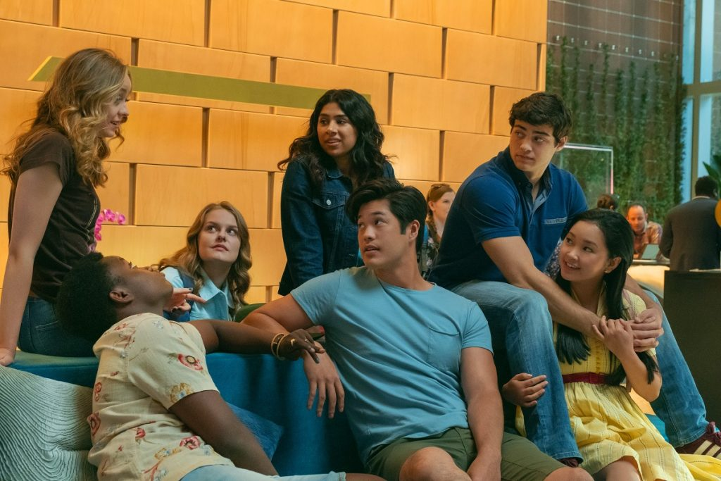 (L-R): Ross Butler as Trevor, Noah Centineo as Peter Kavinsky, and Lana Condor as Lara Jean Covey in 'To All the Boys: Always and Forever'