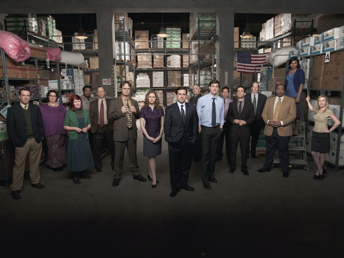 The Office cast poses in the warehouse