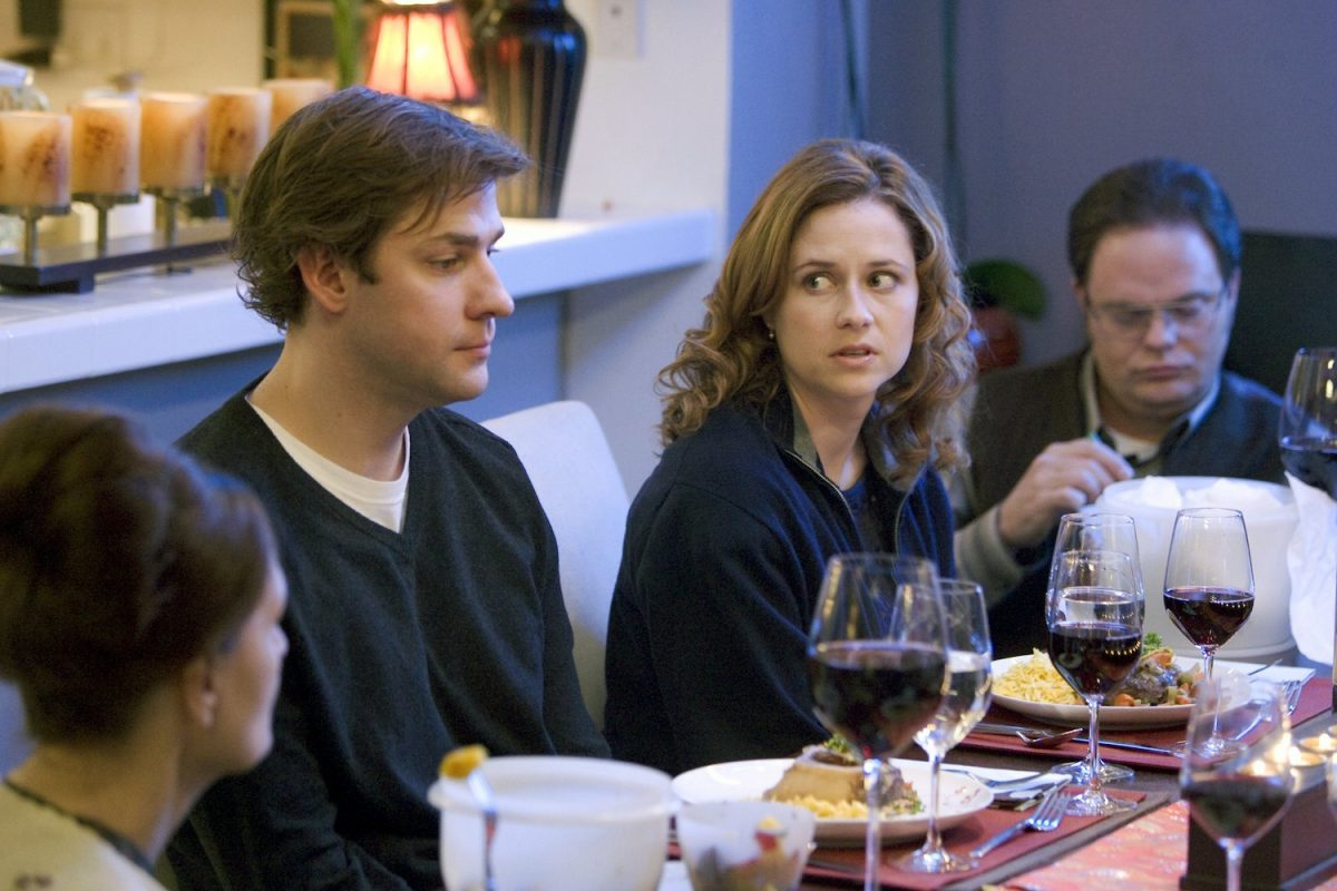 "'The Office' The Dinner Party"" episode with John Krasinski as Jim Halpert, Jenna Fischer as Pam Beesly, Rainn Wilson as Dwight Schrute"