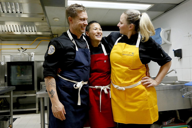 Bryan Voltaggio, Melissa King, Stephanie Cmar on Top Chef