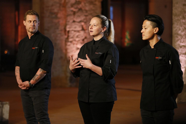 Bryan Voltaggio, Stephanie Cmar, Melissa King on Top Chef