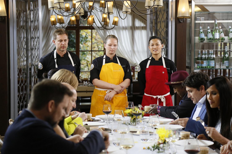 Tom Colicchio, Bryan Voltaggio, Stephanie Cmar, Melissa King, Marcus Samuelsson, Mauro Colagreco, Padma Lakshmi on Top Chef