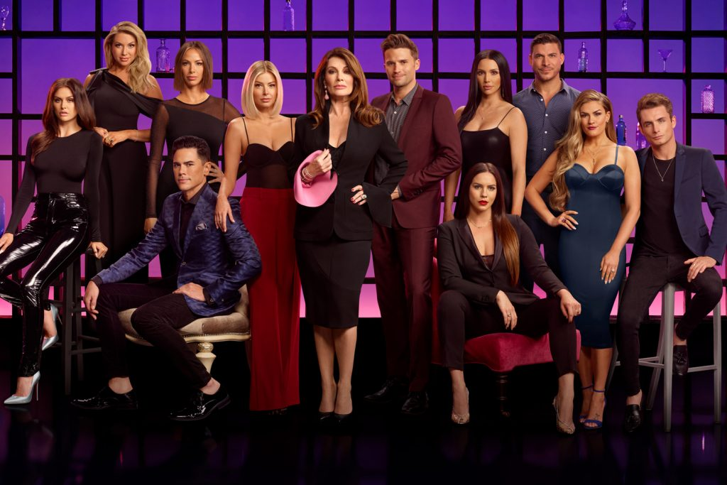 Lala Kent, Stassi Schroeder, Tom Sandoval, Kristen Doute, Ariana Madix, Lisa Vanderpump, Tom Schwartz, Katie Maloney-Schwartz, Scheana Shay, Jax Taylor, Brittany Cartwright, James Kennedy in 'Vanderpump Rules' Season 8 Cast Photo