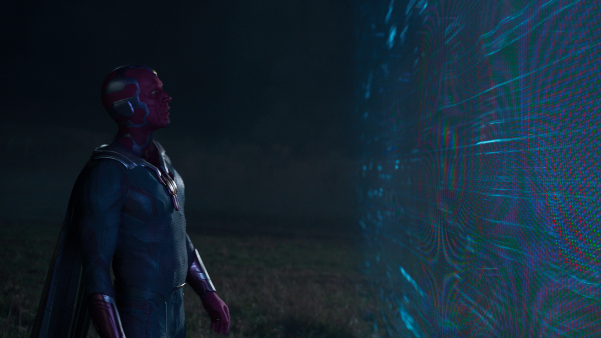 Paul Bettany as Vision in 'WandaVision' Episode 6, almost outside of the Hex