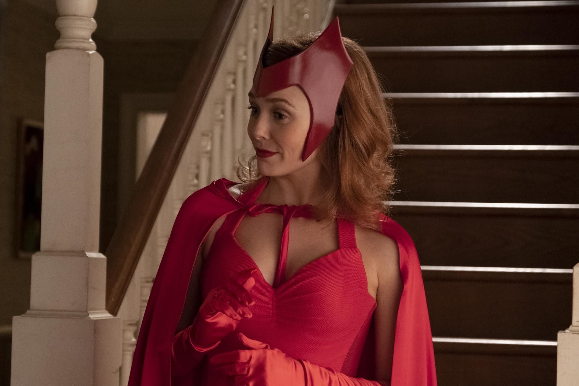 Elizabeth Olsen as Wanda Maximoff in her Halloween costume in 'WandaVision' Episode 6