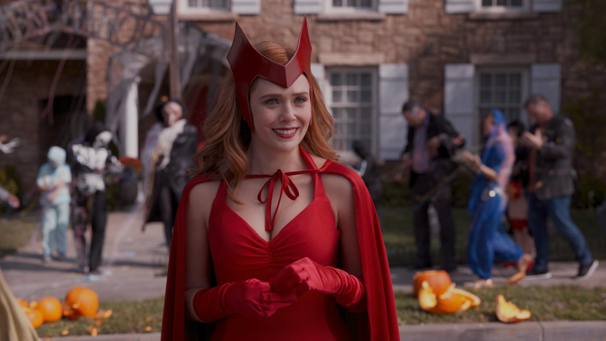 Elizabeth Olsen as Wanda Maximoff in her (nearly) comic-accurate costume in 'WandaVision' Episode 6