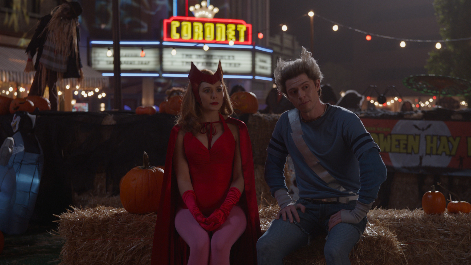 Elizabeth Olsen as Wanda Maximoff and Evan Peters as Pietro Maximoff (maybe) in the Halloween episode of 'WandaVision'