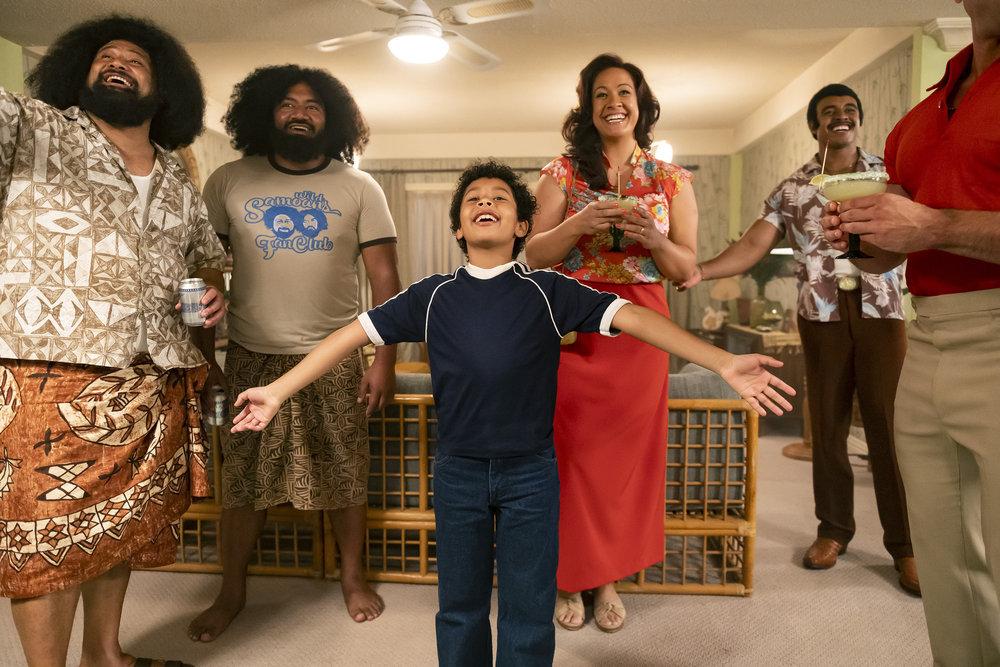 John Tui as Afa, Fasi Amosa as Sika, Adrian Groulx as Dwayne, Stacey Leilua as Ata Johnson, Joseph Lee Anderson as Rocky Johnson in 'Young Rock'