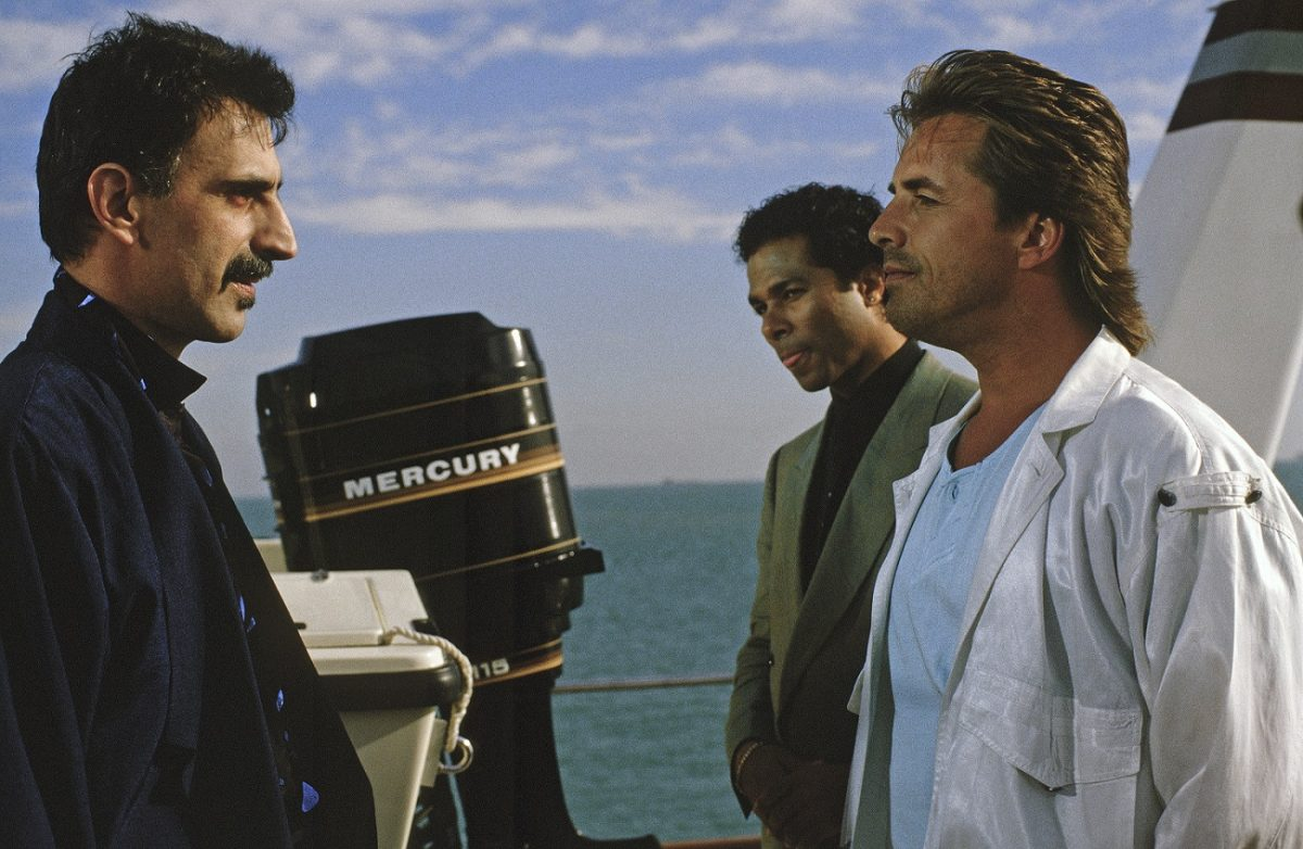 Frank Zappa in a 'Miami Vice' scene with Philip Michael Thomas and Don Johnson