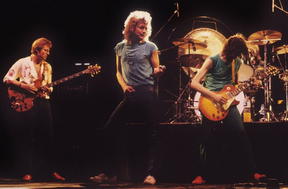 Led Zeppelin on stage in 1980