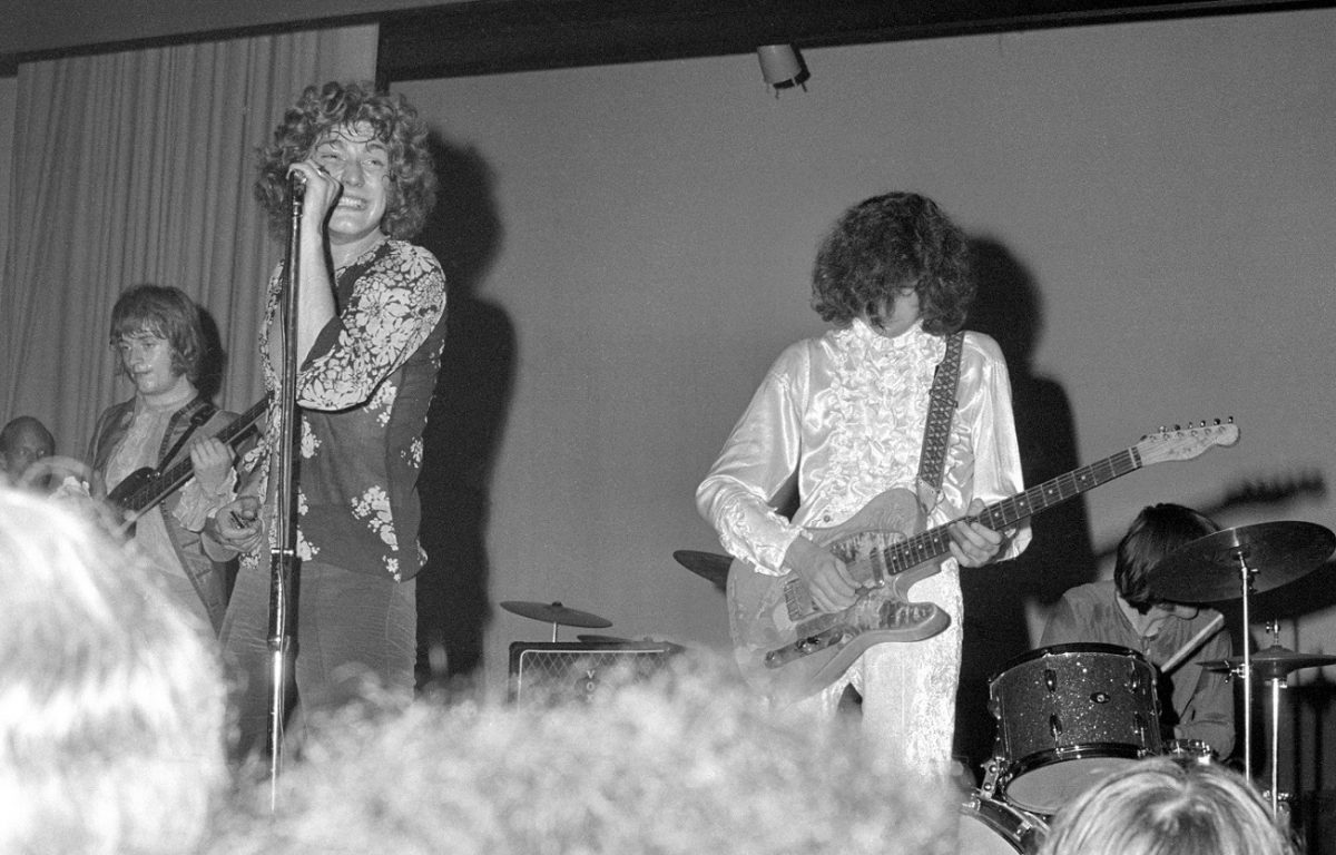 Led Zeppelin performing live in 1968