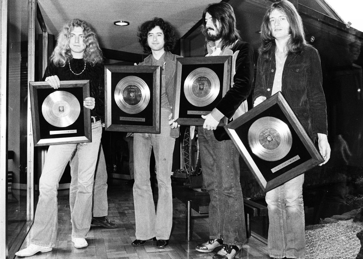 Led Zeppelin holding gold records in 1972