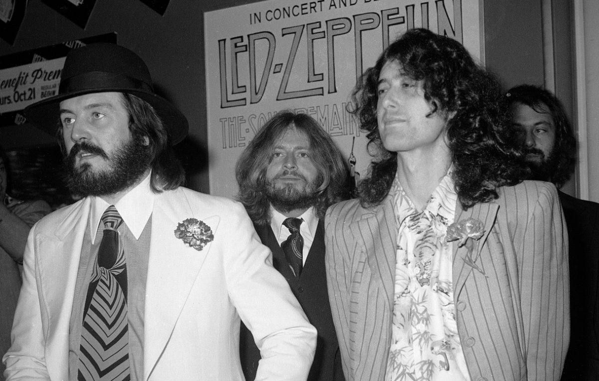 Led Zeppelin band members pose for photos at a film premiere
