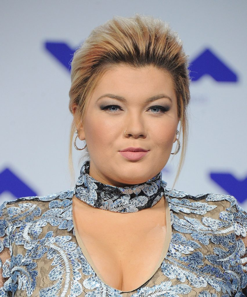 Teen Mom OG star Amber Portwood walks the red carpet in a sparkly gown for the 2017 MTV VMas
