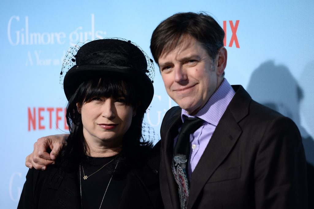"""Amy Sherman-Palladino and Dan Palladino arrive at the premiere of Netflix's """"'ilmore Girls: A Year In The Life' at the Regency Bruin Theatre"""