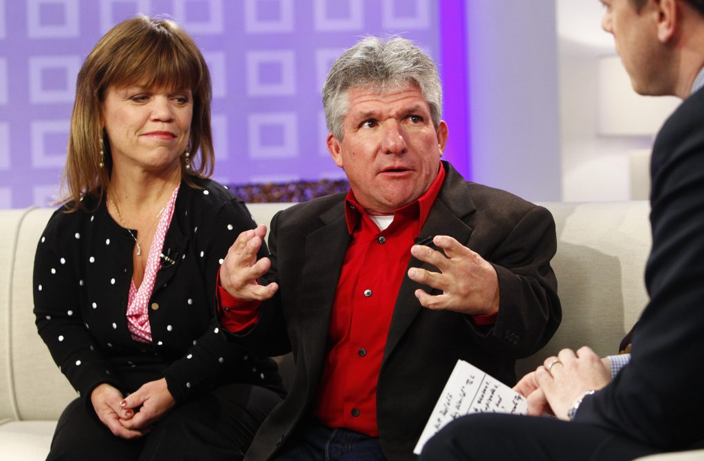 Amy Roloff and Matt Roloff, members of the Roloff family from 'Little People, Big World' sitting next to each other and talking on NBC News' 'Today' show