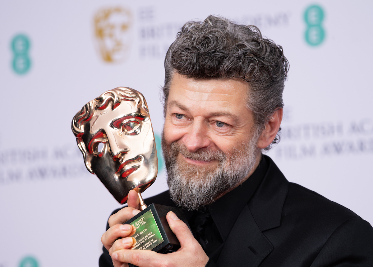 Andy Serkis with his award at the EE British Academy Film Awards 2020