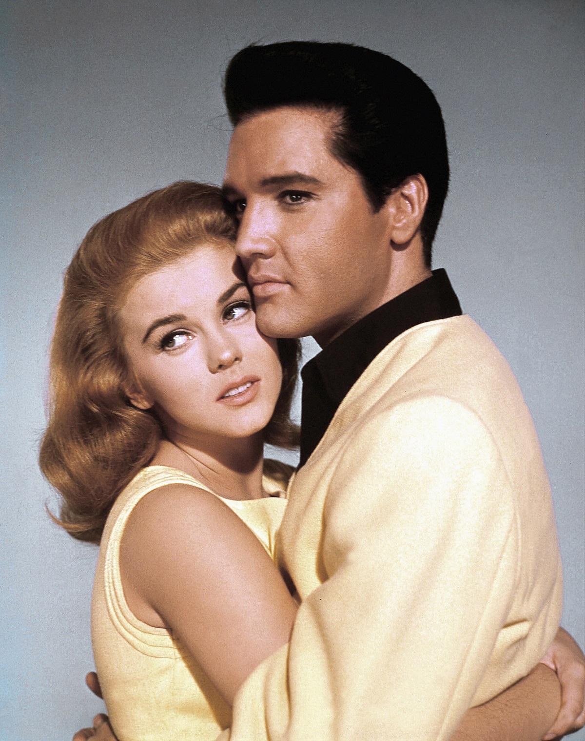 Ann-Margret and Elvis Presley holding each other in a promotional still for 'Viva Las Vegas'